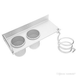 Hair Holder Comb Australia - Multi Use Alumimum Hair Dryer Shelf Bathroom Storage Holder Comb Rack Wall Hanger With 2 Cups Stainless Steel Durable Tool Parts VB
