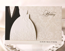 Classic Party Invitation Cards UK - 50 pieces lot New Classic Bride And Groom Wedding Invitation Cards Black And White Western Style Wedding Invitations
