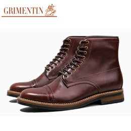 $enCountryForm.capitalKeyWord Australia - GRIMENTIN Genuine leather handmade mens boots hot sale brand formal business men ankle boots for black brown dress mens shoes Y100