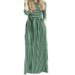 Striped Maxi Dress Blue White Australia - New 2019 Summer Long Maxi Dresses Casual Striped Sundress Three Quarter Sleeve Pockets Women Long Dress Robe Oversized XXL GV449