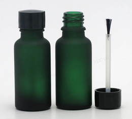 Discount glass nail polish bottle 5ml - 12pcs lot 20ml Empty frost green glass bottle Nail polish bottle 2 3oz essential oil container with brush cap