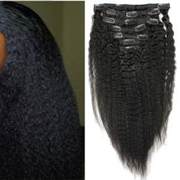 $enCountryForm.capitalKeyWord Australia - Coarse Yaki Kinky Straight Clip In Hair Extensions 9 Pieces And 120g Set Natural Black Brazilian Human Remy Hair