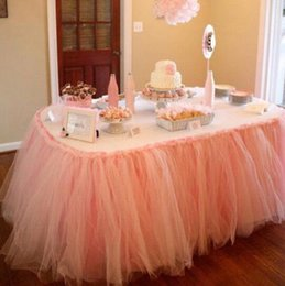 Discount polyester table skirting - Home Textiles hot Wedding Party Tulle Tutu Table Skirt Birthday Baby Shower Wedding Table Decorations Diy Craft Supplies