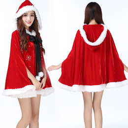 Santa Women Costume NZ - New Arrival Christmas Cape Red Fantasy Santa Claus For Women Party Gown Shawl Winter Party Short Cloak Holiday Costumes