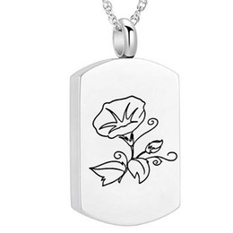 stainless steel square link chain UK - Square Morning glory   Flowers & Leaf Pendant Cremation Jewelry Urn Necklace Memorial-Ashes Holder Keepsake