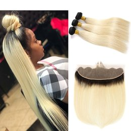 bundles 18 inch ombre hair extensions 2019 - 1B 613 Dark Roots Blonde Bundles with Frontal 13x4 Ear To Ear Natural Hairline Straight Cuticle Aligned Brazilian Human
