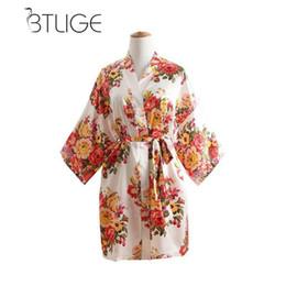fb48ee6c21 Silk Kimono Robes For Bridesmaids UK - BTLIGE Wedding Robe For Bride  Bridesmaid Sexy Short Floral