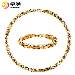 Discount gold silver mix chain for men - Stainless Steel statement Necklace And Bracelet Set Wholesale 8mm Gold Color Hip Hop Chunky Big Chain For Men Jewelry