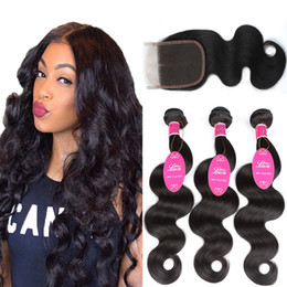 Brazilian Human Hair Wholesale Prices Australia - Indian 3 Bundles Body Weaves With Closure wholesale price Unprocessed virgin hair Indian Brazilian Peruvian natural color Human Hair Bundles