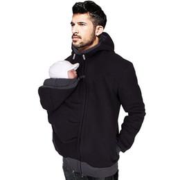 Em Estoque de Algodão quente Dos Homens Hoodies Preto Portador Do Bebê Titular do Revestimento Do Bebê Titular Do Bebê Jaquetas Hoodies Outwear Casaco Gravidez venda por atacado