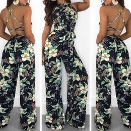 Women Fashion Jumpsuit Australia - Sexy Women Summer Floral Long Wide Leg Pants Strappy Casual Beach Printed Jumpsuit Blakless Romper Fashion Women Clothes