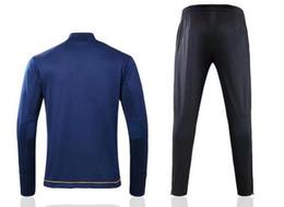 $enCountryForm.capitalKeyWord Canada - 2017 2018 Deep treasure blue Men's Long Sleeve Tracksuit kit Football Suits Youth Sport Wear training tracksuit Free shipping