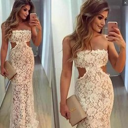 $enCountryForm.capitalKeyWord Australia - Full Lace Mermaid Prom Dresses Strapless Sexy Cut Waist Sheath Evening Gowns See Through Floor Length Formal Party Dress Cheap Vestidos