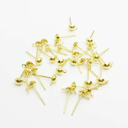 earring backs Australia - 200pcs lot 4mm Silver Rhodium Gold Color Earring Posts DIY Jewelry Making Findings Earrings Back