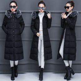 Cotton Long Overcoat Ladies NZ - 2018 Winter Women's Cotton Jacket Leisure Medium Long Thick Warm M-3XL Ladies Snow Overcoat Female Large Fur Collar Parkas Vs083