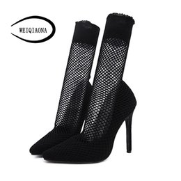 Wholesale WEIQIAONA Flock Sexy Black Fish Net New Fashion Women Shoes Mid Calf Boots Pointed Toe High Heels Dress Shoes Ladies