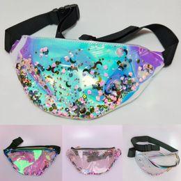 InsIde fashIon desIgn online shopping - New Design Inside Bling Sequin Laser Waist Bag Translucent Waterproof Hologram Women Fanny Pack Fashion Holographic Beach Bags Color