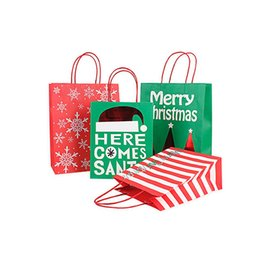 Discount christmas tote bags wholesale - Christmas Gift Kraft Paper Bag Creative Bronzing Cute Cartoon Christmas Packaging Tote Bag Free DHL 883