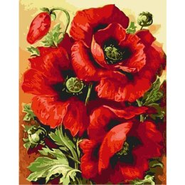 $enCountryForm.capitalKeyWord Australia - Frameless Red Flower Diy Digital Painting By Numbers Modern Wall Art Canvas Painting Home Decoration For Living Room Artworks
