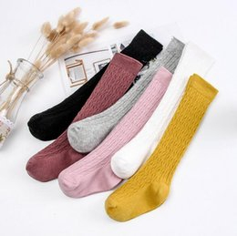 Wholesale combed cotton fashion socks online – funny 6 Colors New Fashion spring Combed Cotton Socks Stockings Children s Pure Twist Knee Socks girls Stockings baby