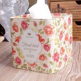 $enCountryForm.capitalKeyWord Australia - New! Square Shape Love Life is Flower Metal Tissue Box Napkin Holder Paper Case Home Storage Box Decoration