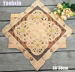 Organza table clOths online shopping - Nice beads table place mat cloth embroidery pad cup mug holder Organza coaster placemat doily Christmas wedding kitchen decor