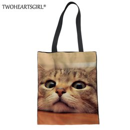 Cute Canvas Handbags Australia - TWOHEARTSGIRL 3D Cute Cat Printing Large Capacity Women Canvas Handbag Female Quality Shopping Tote Handle Bag Ladies Beach Bags