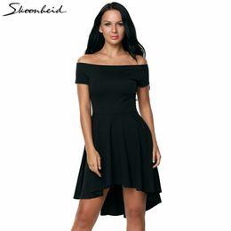 $enCountryForm.capitalKeyWord NZ - Sexy Off the Shoulder Asymmetrical Hem Summer Dress 2018 Women Elegant Solid Slash Neck Dress Plus Size robe femme ete 2018