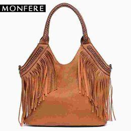 d9db4d8c4eef Fashion Female Shoulder Bags Large Tassle Women Tote Bags Chain Handle  Messenger Bag Vegan Leather Hobo Fringe Handbag