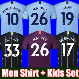 164d01d7c Top Thailand MAHREZ JESUS DE BRUYNE AGUERO MEN and Kid set soccer jerseys  2019 SANE jersey 18 19 manchester football MAN KIT city shirt