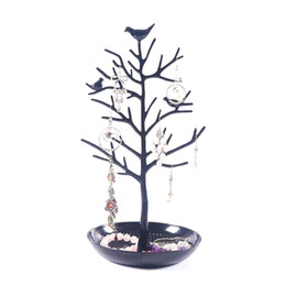 Chinese  Black Birds Tree Tabletop Jewelry Display Necklace Earring Stands Ring Bracelet Jewelry Holder Tree Organizer Rack Tower manufacturers