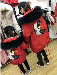 woman white coats outfit 2019 - new women Kids crane red-crowned crane winter outfit includes long Hooded fur collar warm and thick down jacket cheap wo