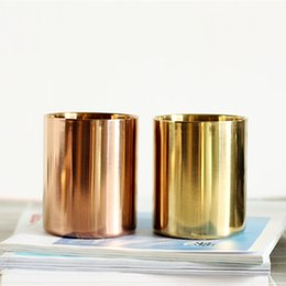 Brass cylinders online shopping - 400ml Nordic style brass gold vase Stainless Steel Cylinder Pen Holder for Stand Multi Use Pencil Pot Holder Cup contain BH80