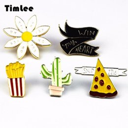 Discount pizza gifts - Wholesale- Timlee X233 Fashion Cartoon Cactus Pizza French Fries Flower Metal Brooch Pins Button Pins Jeans Bag Decorati