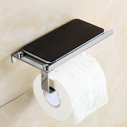 Discount mobile phone holder toilet - 2Pcs Bathroom WC Toilet Roll Paper Holder Hook Stainless Steel Useful Mobile Phone Shelf Holder Bathroom Accessories Set