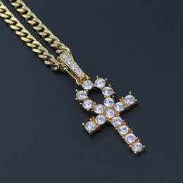 Black diamonds cross necklace online shopping - Iced Zircon Ankh Cross Pendant Gold Silver Stainless Steel Cz Egyptian Key of Life Pendant Necklace Men Women Hip Hop Jewelry