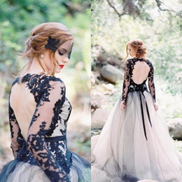 unique backless wedding dresses NZ - Country Black Gothic Wedding Dresses Unique V Neck Backless Lace Appliques Sheer Long Sleeve Tulle Bridal Gowns Open Back Sweep Train