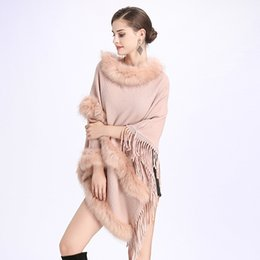 d14c9ddc682 SC121 2018 Winter Women Long Black Fake Cashmere Plus Size Sweaters Shawl  Knitted Poncho Cape Two Layers Fur Loose Pullovers