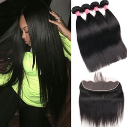 malaysian straight hair 24 inches 2019 - 100% 8A Brazilian Straight Body Wave Kinky Curly Deep Human Hair 3 Bundles With 13X4 Ear To Ear Lace Frontal Closure Rem