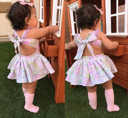 Discount dresses horse prints - baby girl clothes Floral Straps dress INS Backless Rainbow horse print suspender dresses Boutique kids clothing 2018 2co