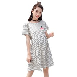 715867309 Pregnant Striped Sweet Summer Dress Maternity Cotton Soft Short Sleeve Mini  Dreses Women Round Neck Loose Dress AA60271