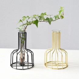 Wrought Iron Flowers UK - Nordic-style Wrought Iron Dried Flowers' Transparent Glass and Small Vase of Creative Scindapsus Hydroponics Test Tube