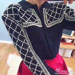 Wholesale Brand Designer Women Luxury Beaded Blouse Spring Summer Fashion Deluxe Manual Rhinestone Embelish Perspective Shirt Party Cocktail Tops