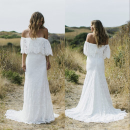 cheap boho winter wedding dresses 2019 - 2020 Full Lace Country Boho Mermaid Wedding Dresses Off The Shoulder Sweep Train Short Sleeves Cheap Beach Bohemian Brid