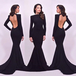 $enCountryForm.capitalKeyWord NZ - Sexy Open Back Mermaid Long Sleeves Evening Dresses High Slim Fitted Sweep Train Black Prom Dress Arabic Party Formal Pageant Gowns