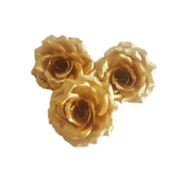 yellow rose party decorations UK - Wholesale 10CM Gold Artificial rose head Christmas Decorations Birthday Party Decorations White Silk Roses Flowers Wedding Decorations Home