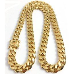 China Stainless Steel Jewelry 24K 18k Gold Filled Plated High Polished Cuban Link Necklace For Men Punk Curb Chain Dragon-Beard Clasp10mm 12MM suppliers
