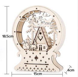 Folk Art Christmas Australia - Cute Luminous Cabins Gift Creative Christmas Decorations Wood House Table Decor Christmas Ornaments For Home natale navidad 2018