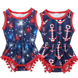 BaBy girl anchor clothing online shopping - Baby Flamingos Romper INS Newborn Anchor Print Jumpsuits Summer Boutique kids Tassels pompons Climbing clothes styles C4307