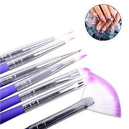 polishing hair 2019 - 7pcs Nail Art Design Brushes Set 2017 New Arrival Luxury Nylon Hair Purple Soft Beauty Painting Pen Polish Tips whole sa